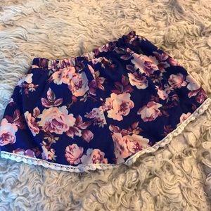 Charlotte Russe Shorts - Charlotte Russe floral shorts S M neon & royalblue